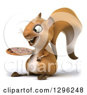 Clipart Of A 3d Squirrel Facing Left And Holding A Pizza Royalty Free Illustration