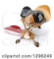 Clipart Of A 3d Squirrel Wearing Sunglasses And Holding Up A Beef Steak Royalty Free Illustration