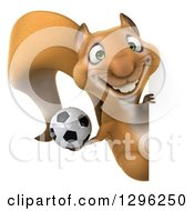Clipart Of A 3d Squirrel Holding A Soccer Ball Around A Sign Royalty Free Illustration