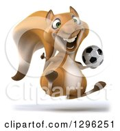 Clipart Of A 3d Squirrel Hopping Giving A Thumb Up And Holding A Soccer Ball Royalty Free Illustration
