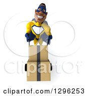 Clipart Of A 3d Muscular Black Male Super Hero In A Yellow And Blue Suit Moving Boxes On A Dolly Royalty Free Illustration