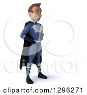 Clipart Of A 3d Young Indian Male Super Hero Dark Blue Suit Facing Right With Hands On Hips Royalty Free Illustration