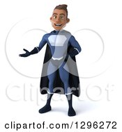 Clipart Of A 3d Young Indian Male Super Hero Dark Blue Suit Presenting To The Left Royalty Free Illustration