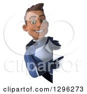 Clipart Of A 3d Young Indian Male Super Hero Dark Blue Suit Pointing Around A Sign Royalty Free Illustration