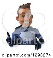 Clipart Of A 3d Young Indian Male Super Hero Dark Blue Suit Giving A Thumb Up Over A Sign Royalty Free Illustration