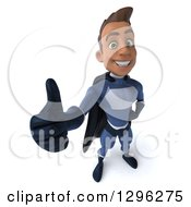 Clipart Of A 3d Happy Young Indian Male Super Hero Dark Blue Suit Holding Up A Thumb Royalty Free Illustration