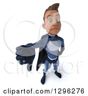 Clipart Of A 3d Unhappy Young Indian Male Super Hero Dark Blue Suit Holding Up A Thumb Down Royalty Free Illustration