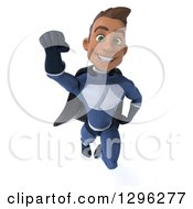 Clipart Of A 3d Young Indian Male Super Hero Dark Blue Suit Flying Forward Royalty Free Illustration