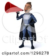 Clipart Of A 3d Young Indian Male Super Hero Dark Blue Suit Announcing With A Megaphone Royalty Free Illustration