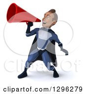 Clipart Of A 3d Young Indian Male Super Hero Dark Blue Suit Announcing To The Left With A Megaphone Royalty Free Illustration