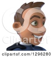 Clipart Of A 3d Young Indian Male Super Hero Dark Blue Suit From The Shoulders Up Facing Right Royalty Free Illustration