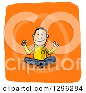 Clipart Of A Sketched Peaceful White Man Meditating On Orange And White Royalty Free Illustration