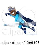 Clipart Of A 3d Happy Black Super Hero Man In A Blue Costume Flying To The Left With A Vaccine Syringe Royalty Free Illustration