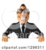 Clipart Of A 3d Bespectacled Buff White Businessman Smiling Over A Sign Royalty Free Illustration