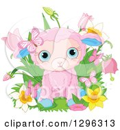 Cute Pink Easter Sheep Lamb With Spring Flowers And Butterflies