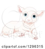 Clipart Of A Cute Resting White Sheep Lamb With Blue Eyes Royalty Free Vector Illustration