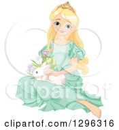 Clipart Of A Pretty Blond Princess In A Green Dress Sitting On The Floor With An Easter Bunny Rabbit And Spring Flowers Royalty Free Vector Illustration