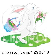 Clipart Of A Cute White Easter Bunny Hopping With Tulips And A Basket Of Eggs Royalty Free Vector Illustration