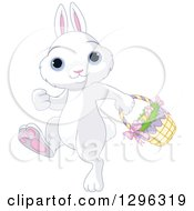 Cute White Easter Bunny Rabbit With Blue Eyes Walking To The Left With A Basket Of Eggs