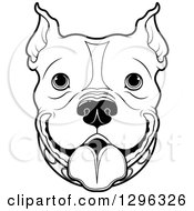 Clipart Of A Black And White Happy Pitbull Dog Face Royalty Free Vector Illustration by Pushkin