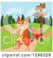 Cute Presenting Squirrel Hiking With A Map By Arrow Signs And Paths
