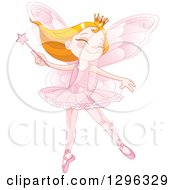 Happy Strawberry Blond Caucasian Fairy Princess Dancing With A Wand In A Pink Ballerina Costume