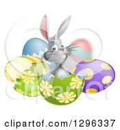 Clipart Of A Happy Gray Easter Bunny Sitting In An Egg Shell Royalty Free Vector Illustration