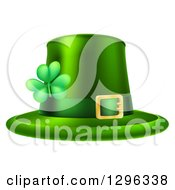 Clipart Of A Green St Patricks Day Leprechaun Hat With A Shamrock Royalty Free Vector Illustration by AtStockIllustration