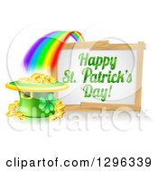 Clipart Of A Happy St Patricks Day Sign With A Rainbow Leading To A Leprechaun Hat Pot Of Gold Royalty Free Vector Illustration by AtStockIllustration