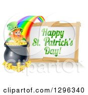 Clipart Of A Happy St Patricks Day Sign With A Rainbow Leading To A Leprechaun At A Pot Of Gold Royalty Free Vector Illustration