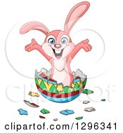 Clipart Of A Cartoon Happy Pink Bunny Rabbit Popping Out Of An Easter Egg Royalty Free Vector Illustration