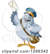 Cartoon Happy Carrier Pigeon Mail Man Holding Up An Envelope
