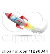 Clipart Of A Flying Rocket With A Trail Of Smoke Royalty Free Vector Illustration