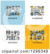 Clipart Of Workshop E Learning Education Tutorials Icons Royalty Free Vector Illustration