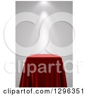 Clipart Of A 3d Square Presentation Pedestal Table Draped With A Red Silk Cloth With A Spotlight Royalty Free Illustration