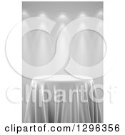 Clipart Of A 3d Round Presentation Pedestal Table Draped With A White Silk Cloth On Gray With Spotlights 2 Royalty Free Illustration