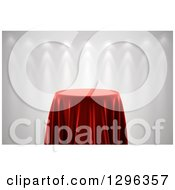 Clipart Of A 3d Round Presentation Pedestal Table Draped With A Red Silk Cloth On Gray With Spotlights Royalty Free Illustration