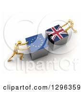 Poster, Art Print Of 3d Gold Mannequins Pushing European And British Flag Puzzle Pieces Together To Find A Solution