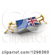 Poster, Art Print Of 3d Gold Mannequins Connecting European And British Flag Puzzle Pieces Together To Find A Solution
