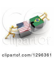 Poster, Art Print Of 3d Gold Mannequins Pushing American And Brazilian Flag Puzzle Pieces Together To Find A Solution