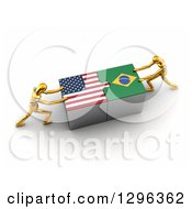 Poster, Art Print Of 3d Gold Mannequins Connecting American And Brazilian Flag Puzzle Pieces To Find A Solution