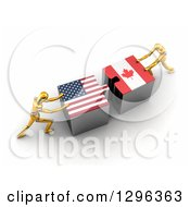 Poster, Art Print Of 3d Gold Mannequins Pushing American And Canadian Flag Puzzle Pieces Together To Find A Solution
