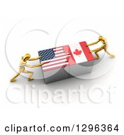 Poster, Art Print Of 3d Gold Mannequins Connecting American And Canadian Flag Puzzle Pieces To Find A Solution
