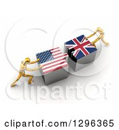 Poster, Art Print Of 3d Gold Mannequins Pushing American And British Flag Puzzle Pieces Together To Find A Solution