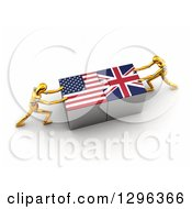 Poster, Art Print Of 3d Gold Mannequins Connecting American And British Flag Puzzle Pieces To Find A Solution