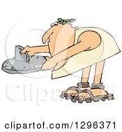 Clipart Of A Chubby Roman Man Bending Over And Using A Sundial Royalty Free Vector Illustration by djart