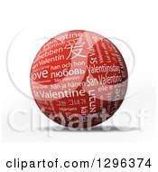 3d Red And White St Valentine Sphere With Different Languages Over White