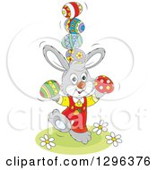 Clipart Of A Cartoon Gray Easter Bunny Rabbit Balancing Eggs Royalty Free Vector Illustration by Alex Bannykh