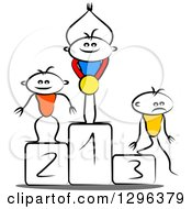Clipart Of A Sketched Winner Cheering With A Medal On A First Place Podium And Second And Third Place Opponents Royalty Free Vector Illustration