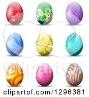 Clipart Of 3d Colorful Patterned Easter Eggs With Shadows On White Royalty Free Vector Illustration